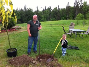 Pop Pop & Robbie plant a special tree at Two Eagles Lodge