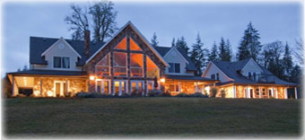 Two Eagles Lodge B&B at sunset - 6409 Old Island Highway Union Bay, just 10 min. south of Courtenay BC on Vancouver Island