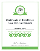 Trip Advisor Award of Execleence for 2011, 2012, 2013, & 2014